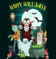 halloween ghost vampire zombie and wizard vector image