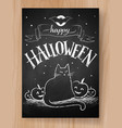 halloween postcard chalked design vector image vector image