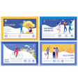 happy active lifestyle landing page templates set vector image