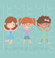 happy childrens day cute little girls cartoon vector image