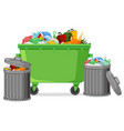 isolated trash container on white background vector image vector image