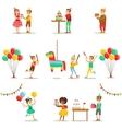 Kids Birthday Party Set Of Scenes vector image vector image