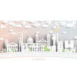 lisbon portugal city skyline in paper cut style vector image vector image