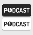 logo or icon podcast text black and white vector image vector image