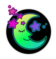 magical bright crescent moon decorated with stars vector image