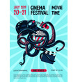 movie festival poster with octopus and cinema vector image vector image