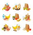 paper packaging with healthy breakfast set school vector image vector image