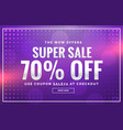purple sale banner design with offer design for vector image vector image