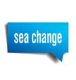 sea change blue 3d speech bubble vector image vector image