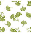 seamless pattern with hand drawn pastel ginkgo vector image