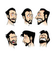 set of emotions of a bearded man of melancholy vector image