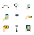 Shooting on cell phone icons set flat style vector image vector image