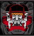 skull wearing cap handling gun vector image vector image