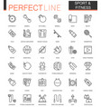 Sport and fitness thin line web icons set outline