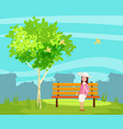 spring landscape city park the sitting girl on vector image