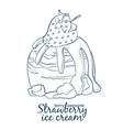 strawberry ice cream scoop icon cartoon vector image vector image
