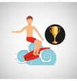 surfer riding wave trophy sport design vector image