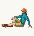 tourist man in panama hat vector image vector image