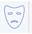 tragedy theatrical masks navy line icon vector image vector image