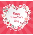 Valentines Day Banner with Flat Icons and Heart vector image vector image