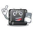 with phone button f9 isolated in mascot vector image vector image