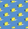 yellow longnose butterflyfish seamless pattern vector image