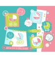 Baby Shower scrap-booking elements set with Prams vector image