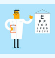 caucasian white ophthalmologist with eye chart vector image