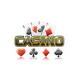 logo text casino and playing cards for ui game vector image
