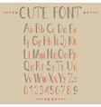 Hand drawn alphabet in retro style vector image