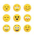 set of happy yellow emoticons funny cartoon flat vector image