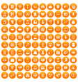 100 business group icons set orange vector image vector image
