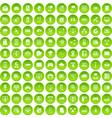 100 network icons set green circle vector image vector image