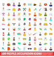 100 people occupation icons set cartoon style vector image
