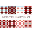 8 patterns seamless tartan plaid brown set vector image