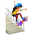 a girl skateboarding on te stairs vector image vector image