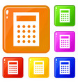 accounting icons set color vector image vector image