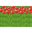 Bamboo background with red hearts vector image
