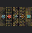 black and gold seamless islamic patterns set vector image vector image