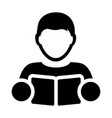 book icon with male student or teacher person vector image