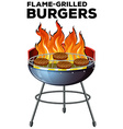 Burger cooking on the flame-grilled vector image vector image