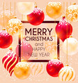card with christmas decorations in snow vector image vector image