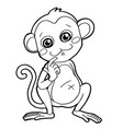 cartoon cute monkey coloring page vector image vector image