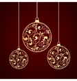 christmas gold balls vector image