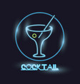cocktail neon lights icon vector image