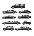 collection of premium black executive cars vector image vector image