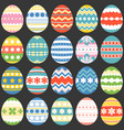 colourful easter eggs flat design set 3 vector image