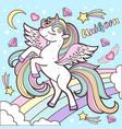 cute rainbow unicorn on a blue background vector image vector image
