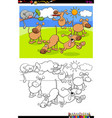 dogs in park group coloring book vector image vector image