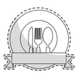 emblem with cutlery vector image vector image